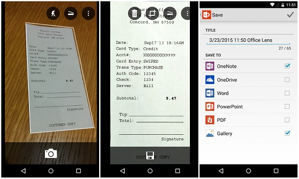 Microsoft Office Lens OCR Scanner converts images to Microsoft
