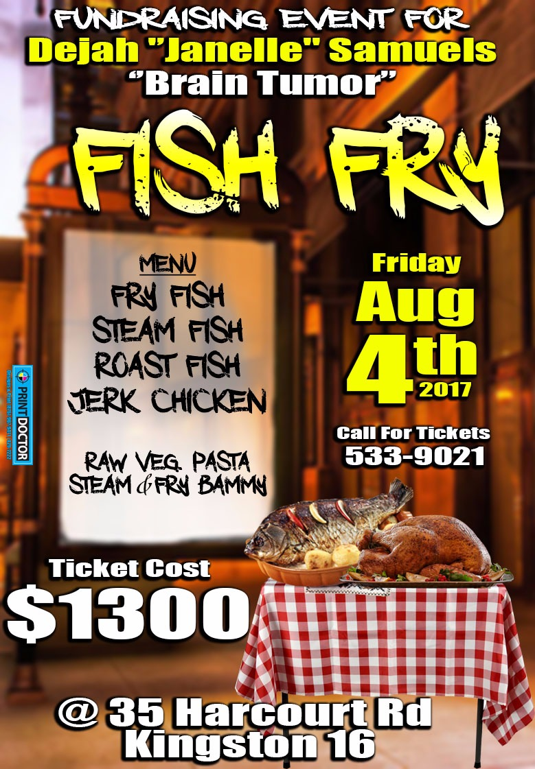 the fundraising fish fry which will be held at 35 harcourt road kingston 5 on friday august 4th 2017 is to help kadavy campbell cousin dejah janelle